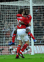 Photo: Tony Oudot/Richard Lane Photography. <br /> England v Switzerland. International Friendly. 06/02/2008. <br /> Shaun Wright Phillips celebrates his goal with Steven Gerrard