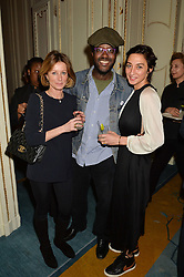 Left to right, JANE WHITFIELD, ORLANDO HAMILTON and MIA FREDRIKSSON at a party to celebrate the publication of The Romanovs 1613-1918 by Simon Sebag-Montefiore held at The Mandarin Oriental, 66 Knightsbridge, London on 2nd February 2016.