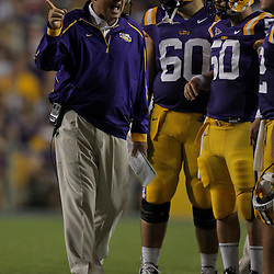 19 September 2009: LSU Tigers head coach Les Miles talks with player during a 31-3 win by the LSU Tigers over the University of Louisiana-Lafayette Ragin Cajuns at Tiger Stadium in Baton Rouge, Louisiana.