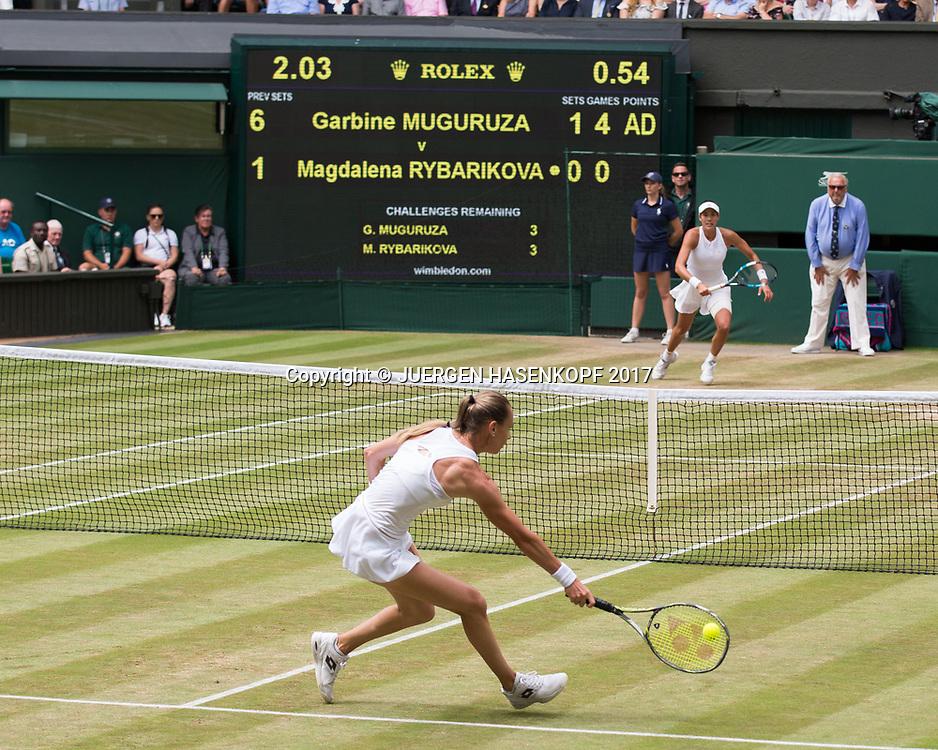 MAGDALENA RYBARIKOVA (SVK) und GARBI&Ntilde;E MUGURUZA (ESP)<br /> <br /> Tennis - Wimbledon 2017 - Grand Slam ITF / ATP / WTA -  AELTC - London -  - Great Britain  - 13 July 2017.