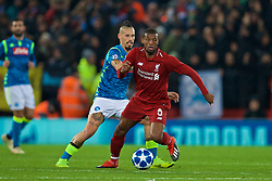 LIVERPOOL, ENGLAND - Tuesday, December 11, 2018: Liverpool's Georginio Wijnaldum and Napoli's Marek Hamšík during the UEFA Champions League Group C match between Liverpool FC and SSC Napoli at Anfield. (Pic by David Rawcliffe/Propaganda)