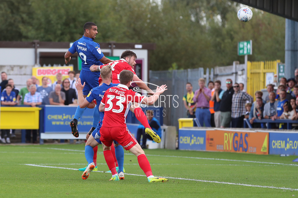 AFC Wimbledon striker Kweshi Appiah (9) scoring goal to make it 2-3 during the EFL Sky Bet League 1 match between AFC Wimbledon and Scunthorpe United at the Cherry Red Records Stadium, Kingston, England on 15 September 2018.