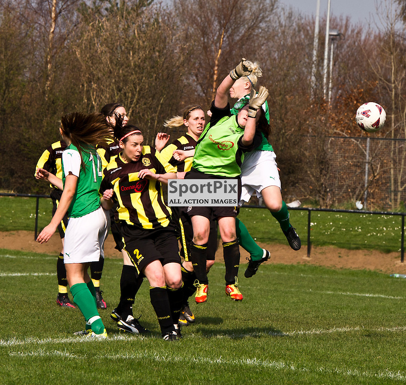 Hibs Frankie Brown (hidden by keeper) beats Catlin Mcmillan to the ball to open the scoring. Hutchison Vale; Hibernian; Womens Premier League; 25 March 2012