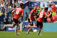 Adam Hammill of Barnsley (right) celebrates scoring his sides second goal to make the scoreline 2-0 during the Sky Bet League 1 Play-off Final between Barnsley and Millwall at Wembley Stadium, London<br /> Picture by Richard Blaxall/Focus Images Ltd +44 7853 364624<br /> 29/05/2016