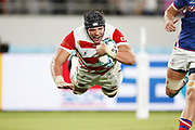 Try of Pieter LABUSCHAGNE (JPN) during the Japan 2019 Rugby World Cup Pool A match between Japan and Russia at the Tokyo Stadium in Tokyo on September 20, 2019.