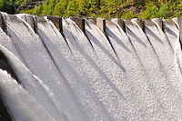 Ticino, Southern Switzerland. Water flowing over the dam at Palagnedra Falls.