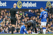 Everton forward Kevin Mirallas is injured during the Barclays Premier League match between Everton and Swansea City at Goodison Park, Liverpool, England on 24 January 2016. Photo by Simon Davies.