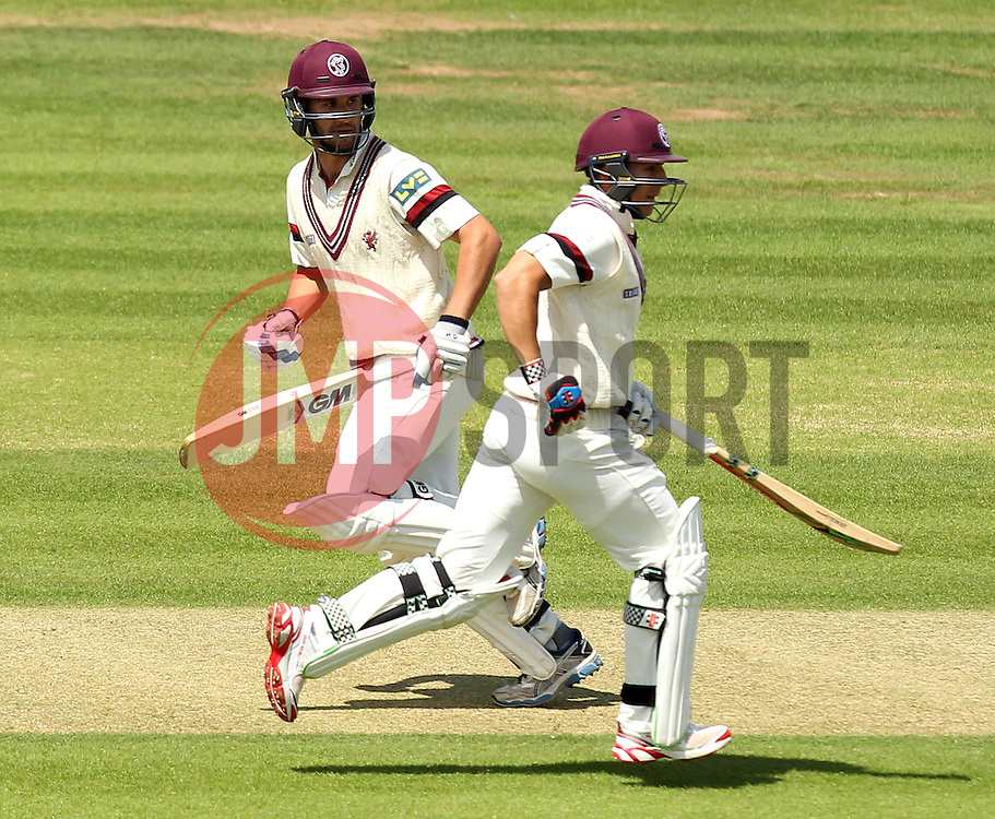 Somerset's Michael Bates and Somerset's Lewis Gregory take a run - Photo mandatory by-line: Robbie Stephenson/JMP - Mobile: 07966 386802 - 22/06/2015 - SPORT - Cricket - Southampton - The Ageas Bowl - Hampshire v Somerset - County Championship Division One
