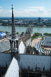 View from Cathedral or Dom in Cologne with River Rhine  and Museum Ludwig prominent.