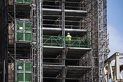London, UK. 8 May, 2019. Scaffolding around the Elizabeth Tower of the Palace of Westminster. Andrea Leadsom MP, Leader of the House of Commons, today unveiled the Parliamentary Buildings (Restoration and Renewal) Bill which includes plans to restore the badly damaged building and MPs will vote in the coming weeks on a body to oversee the £6bn work which is expected to begin in the mid-2020s.