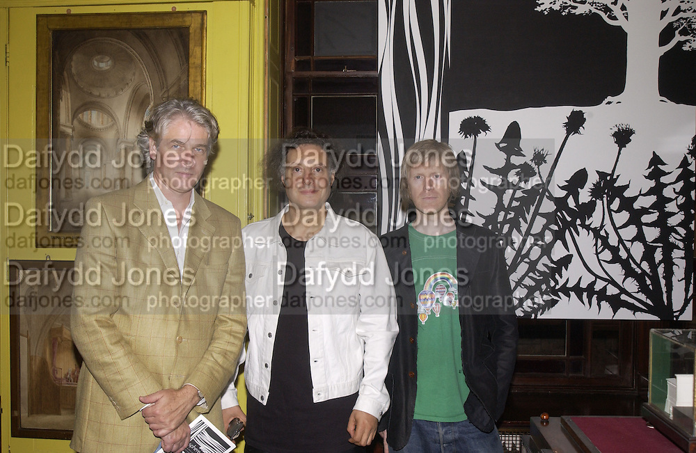 Mark Pimlott, Paul Morrison, and Peter Fleissig. Sphere exhibition, curated by Peter fleissig.  Soane Museum, Lincoln's Inn Fields. London. 2 October 2002. © Copyright Photograph by Dafydd Jones 66 Stockwell Park Rd. London SW9 0DA Tel 020 7733 0108 www.dafjones.com