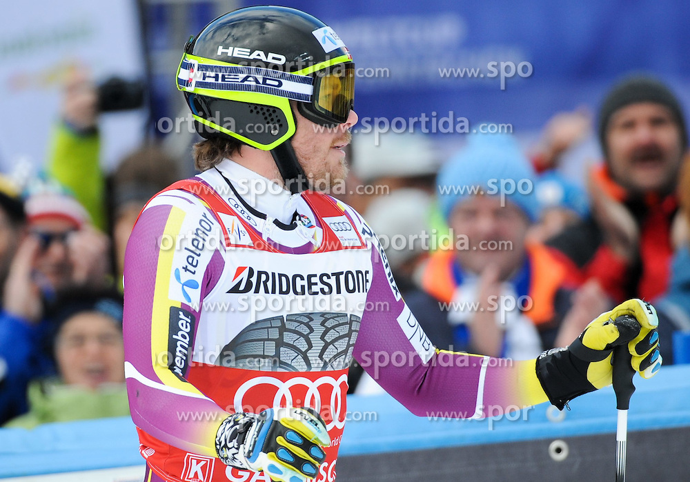 28.02.2015, Kandahar, Garmisch Partenkirchen, GER, FIS Weltcup Ski Alpin, Garmisch Partenkirchen, Abfahrt, Herren, im Bild Kjetil Jansrud of Norway // reacts after his run for the men's Downhill of the FIS Ski Alpine World Cup at the Kandahar in Garmisch Partenkirchen, Germany on 2015/02/28. EXPA Pictures © 2015, PhotoCredit: EXPA/ Erich Spiess