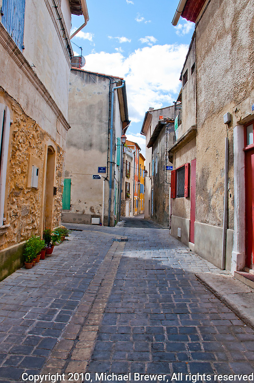 Old houses on a series of alleys in Chateaurenard, Provence, France.