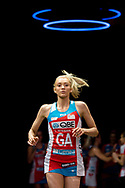 SYDNEY, AUSTRALIA - AUGUST 24: Helen Housby of the Swifts runs onto the court during the round 14 Super Netball match between the Swifts and the Queensland Firebirds at Qudos Bank Arena on August 24, 2019 in Sydney, Australia.(Photo by Speed Media/Icon Sportswire)
