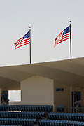 LOS ANGELES, CA - MAY 27:  American flags fly over the stadium before the Los Angeles Dodgers game against the Houston Astros on Sunday, May 27, 2012 at Dodger Stadium in Los Angeles, California. The Dodgers won the game 5-1. (Photo by Paul Spinelli/MLB Photos via Getty Images)