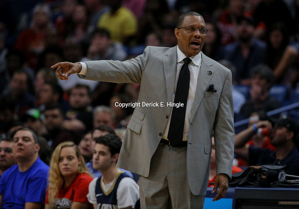 Apr 11, 2018; New Orleans, LA, USA; New Orleans Pelicans head coach Alvin Gentry against the San Antonio Spurs during the second half at the Smoothie King Center. The Pelicans defeated the Spurs 122-98. Mandatory Credit: Derick E. Hingle-USA TODAY Sports