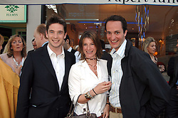 Left to right, the HON.JAMES TOLLEMACHE, the HON.SELINA TOLLEMACHE and The HON.EDWARD TOLLEMACHE at the launch of The Rupert Lund Showroom, 61 Chelsea Manor Street, London SW3 on 2nd May 2007.<br />