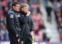 Bournemouth Manager Eddie Howe and Bournemouth  Assistant Manager Jason Tindall watch on from the touchline. <br />  - Mandatory by-line: Alex James/JMP - 17/04/2016 - FOOTBALL - Vitality Stadium - Bournemouth, England - AFC Bournemouth v Liverpool - Barclays Premier League