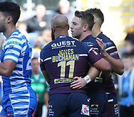 Richie Myler (C) of Leeds Rhinos  celebrates scoring the 1st try of the game against Halifax RLFC during the Super 8s The Qualifiers match at Mbi Shay Stadium, Halifax<br /> Picture by Stephen Gaunt/Focus Images Ltd +447904 833202<br /> 23/09/2018