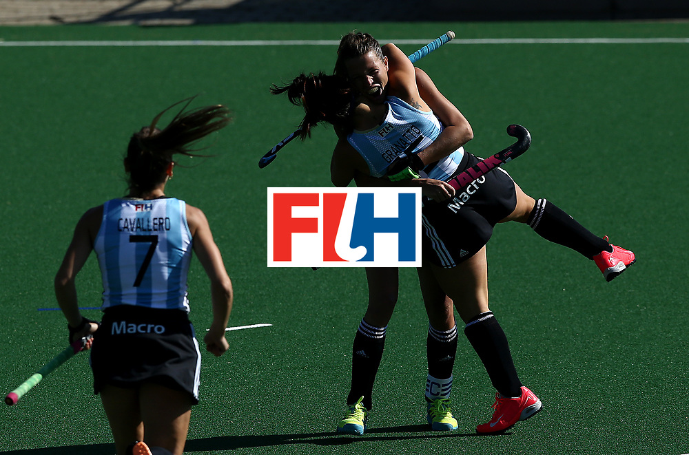 JOHANNESBURG, SOUTH AFRICA - JULY 18:  Delfina Merino of Argentina celebrates scoring her sides first goal with her team mate Maria Granatto during day 6 of the FIH Hockey World League Women's Semi Finals quarter final match between Argentina and Ireland at Wits Univesity on July 18, 2017 in Johannesburg, South Africa.  (Photo by Jan Kruger/Getty Images for FIH)