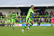 Forest Green Rovers Midfielder, Keanu Marsh-Brown (7) celebrates after making it 2-0 during the Vanarama National League match between Forest Green Rovers and Lincoln City at the New Lawn, Forest Green, United Kingdom on 19 November 2016. Photo by Adam Rivers.