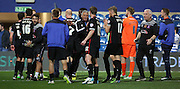Keith Curle  celebrating with his players after a hard fought win during the Capital One Cup match between Queens Park Rangers and Carlisle United at the Loftus Road Stadium, London, England on 25 August 2015. Photo by Matthew Redman.