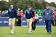 Andy Ogletree (USA) left, John Augentsein (USA) centre and Nathaniel Crosby (USA) Team Captain, left, leave the first tee at the start of the match during the Saturday morning Foursomes in the Walker Cup at the Royal Liverpool Golf Club, Saturday, Sept 7, 2019, in Hoylake, United Kingdom. (Steve Flynn/Image of Sport)