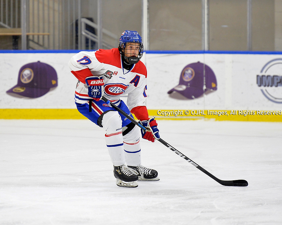 BUFFALO, NY - SEP 21,  2017: Ontario Junior Hockey League game between the Stouffville Spirit and Toronto Jr. Canadiens. Artur Terchiyev #17 of the Toronto Jr. Canadiens follows the play during the first period.<br /> (Photo by Shawn Muir / OJHL Images)