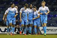 Emile Sinclair of York City (3rd right) celebrates scoring his team's second goal to make it 0-2 with Josh Carson of York City (2nd right) during the Sky Bet League 2 match at Kenilworth Road, Luton<br /> Picture by David Horn/Focus Images Ltd +44 7545 970036<br /> 10/02/2015