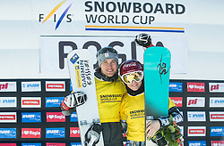 Winners in overall classification Benjamin Karl (AUT) and Ester Ledecka (CZE) celebrate after the Parallel Giant Slalom at FIS Snowboard World Cup Rogla 2017, on January 28, 2017 at Course Jasa, Rogla, Slovenia. Photo by Vid Ponikvar / Sportida