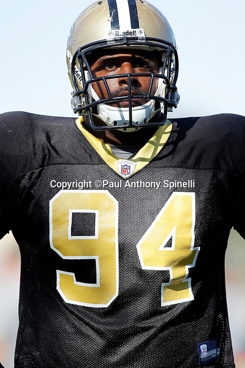 New Orleans Saints defensive end Cameron Jordan (94) looks on during the team's west coast NFL training camp on Wednesday, August 24, 2011 in Oxnard, California. (©Paul Anthony Spinelli)