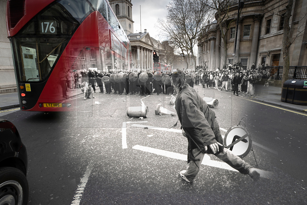 © Licensed to London News Pictures. 25/03/2020. London, UK. In this combined image a protester throws an object at a line of riot police on St Martin's Place during the London poll tax riots on March 31st 1990 overlaid on the same location today. The protest on the last day of March in 1990 started peacefully when thousands gathered in a south London park to demonstrate against Margaret Thatcher's Government's introduction of the Community Charge - commonly known as the poll tax. Marchers walked to Whitehall and Trafalgar Square where violence broke out with the trouble spreading up through Charring Cross Road and on to the West End. Police estimated that 200,000 people had joined the protest and 339 were arrested. The hated tax was eventually replaced by the Council Tax under John Major's government in 1992.  Photo credit: Peter Macdiarmid/LNP