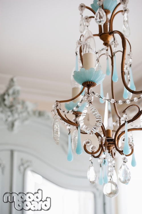 Glass and metalworked chandelier