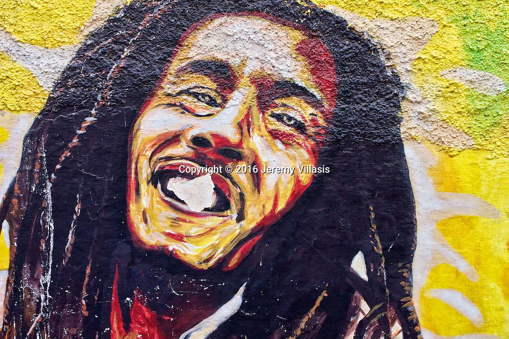 Bob Marley street art by Mourad Bakkouh and Zouhir Oitache along Tangier's Rue dela Kasbah.