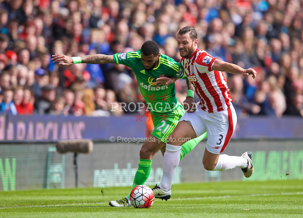 STOKE-ON-TRENT, ENGLAND - Saturday, April 30, 2016: Sunderland's Yann M'Vila in action against Stoke City's Erik Pieters during the FA Premier League match at the Britannia Stadium. (Pic by David Rawcliffe/Propaganda)