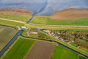 Nederland, Friesland, Het Bildt, gemeente Waadhoeke, 04-11-2018; buurtschap Zwarte Haan, ten noorden van Sint Annaparochie, H.G. Miedemagemaal zorgt voor afwatering van Het Bildt op de Waddenzee.<br /> Het Bildt.<br /> luchtfoto (toeslag op standaard tarieven);<br /> aerial photo (additional fee required);<br /> copyright © foto/photo Siebe Swart