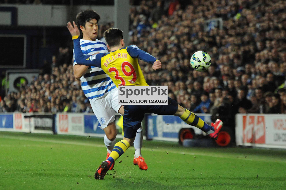 QPRs Suk-Young Yun and Arsenals Hector Bellerin in action during QPR's premier league match with Arsenal