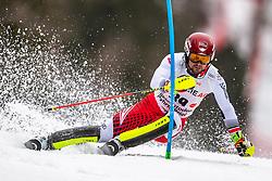 01.03.2020, Hannes Trinkl Weltcupstrecke, Hinterstoder, AUT, FIS Weltcup Ski Alpin, Alpine Kombination, Herren, Slalom, im Bild Johannes Strolz (AUT) // Johannes Strolz of Austria in action during his Slalom run of men's Alpine combined of FIS ski alpine world cup at the Hannes Trinkl Weltcupstrecke in Hinterstoder, Austria on 2020/03/01. EXPA Pictures © 2020, PhotoCredit: EXPA/ Johann Groder