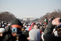 20 January, 2009. Washington, DC.<br /> The crowd for the inauguration of President-elect Barack Obama readched the Lincoln Memorial, on the opposite side of the United States Capitol, where the inauguration was taking place. About 2 millions of people gathered at the National Mall in Washington D.C. for the inauguration of the 44th President of the United States, Barack Obama. Obama, the nation's first black chief executive, told the nation in his address that shared sacrifice would be necessary to return to peace and posperity.<br /> ©2009 Gianni Cipriano<br /> cell. +1 646 465 2168 (USA)<br /> cell. +1 328 567 7923 (Italy)<br /> gianni@giannicipriano.com<br /> www.giannicipriano.com