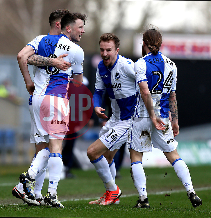 Ollie Clarke of Bristol Rovers celebrates with teammates after scoring a goal - Mandatory by-line: Robbie Stephenson/JMP - 04/03/2017 - FOOTBALL - Kassam Stadium - Oxford, England - Oxford United v Bristol Rovers - Sky Bet League One