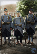 "Colorized photographs soldiers from the World War One<br /> <br /> With his impressive colorized photographs of the World War One, Frédéric Duriez gives us a new look at the conflict that ravaged the world between 1914 and 1918, revealing the difficult daily life of the French soldiers. <br /> <br /> Photo Shows: ""Saint Folquin (France - Nord). September 3, 1917, at the corner of village.In the foreground, left to right: Fusilier Limbi , the """"second-maitre""""second-maitreand the """"Fusilier-Marin"""" St. Jamme who distinguished themselves in combat Die - Graetchen .<br /> ©Frédéric Duriez/Exclusivepix Media"