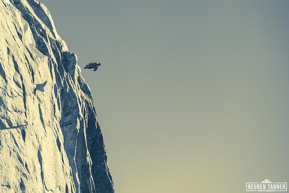 Freddy a Wingsuit Pilot leaves the Aiguille du Midi above Chamonix, in a wingsuit.