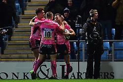 Exeter celebrate Nic White of Exeter Chiefs try - Mandatory by-line: Alex Davidson/JMP - 13/01/2018 - RUGBY - Sandy Park Stadium - Exeter, England - Exeter Chiefs v Montpellier - European Rugby Champions Cup