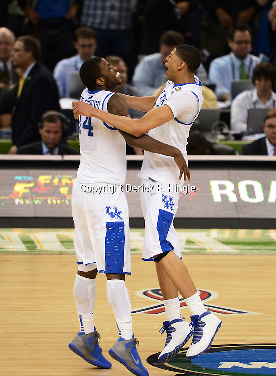 Apr 2, 2012; New Orleans, LA, USA; Kentucky Wildcats forward Anthony Davis (23) celebrates with forward Michael Kidd-Gilchrist (14) after defeating the Kansas Jayhawks 67-59 in the finals of the 2012 NCAA men's basketball Final Four at the Mercedes-Benz Superdome. Mandatory Credit: Derick E. Hingle-US PRESSWIRE