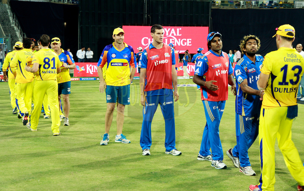 Players of Mumbai Indians and players of Chenna iSuper Kings shakes hand after the match 49 of the the Indian Premier League ( IPL) 2012  between The Mumbai Indians and the Chennai Superkings held at the Wankhede Stadium in Mumbai on the 6th May 2012..Photo by Sandeep Shetty/IPL/SPORTZPICS.