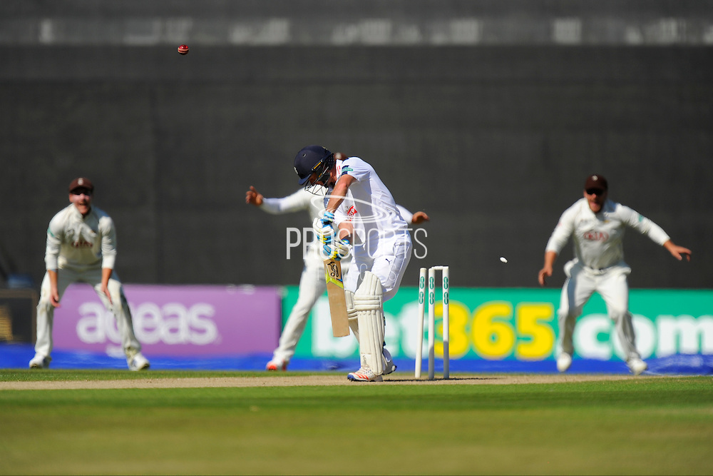 Hampshire's Will Smith is bowled by Surrey's Mark Footitt during the Specsavers County Champ Div 1 match between Hampshire County Cricket Club and Surrey County Cricket Club at the Ageas Bowl, Southampton, United Kingdom on 18 July 2016. Photo by Graham Hunt.