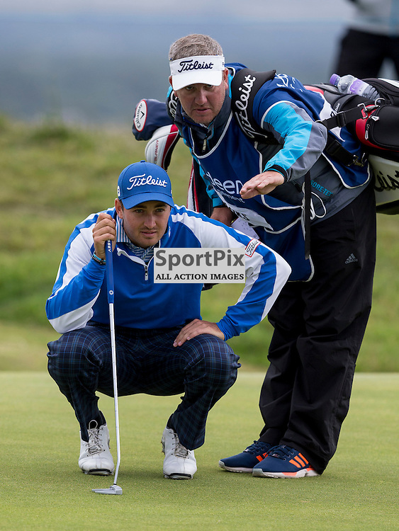 Aberdeen Asset Management Scottish Open 2015<br /> <br /> Daniel BROOKS with caddy during day 3 of the Aberdeen Asset Management Scottish Open played at Gullane Golf Course on 9-12 July 2015<br /> <br /> Picture: Alan Rennie