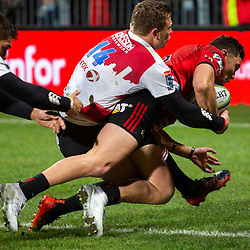David Havili of the Crusaders scoring a try during the 2018 Super Rugby final between the Crusaders and Lions at AMI Stadium in Christchurch, New Zealand on Sunday, 29 July 2018. Photo: Joe Johnson / lintottphoto.co.nz