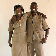 February 2008 - Martial Quenum and Pamela Falola, students at the  School for the Blind in Cotonou, Benin. The School takes 80 blind students surrounding villages and at no cost to their families teaches them geography, science, math and a work for the future. Though the school belongs to the state, it receives considerable funding from ONG.