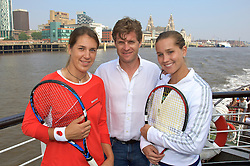 Liverpool, England - Sunday, June 10, 2007: Tournament Director Anders Borg (C) with Olga Savchuk (L) and Ashley Harkleroad on the deck of the Royal Daffodil Mersey Ferry as they take a cruise along Liverpool's famous River Mersey. The WTA tennis players are in the city for the Liverpool International Tennis Tournament which starts on Tuesday June 12th. For more information please visit www.liverpooltennis.co.uk. (Pic by David Rawcliffe/Propaganda)